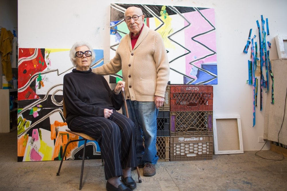 A recent photo of Judith and Gus Leiber in his studio; image: The New York Times.