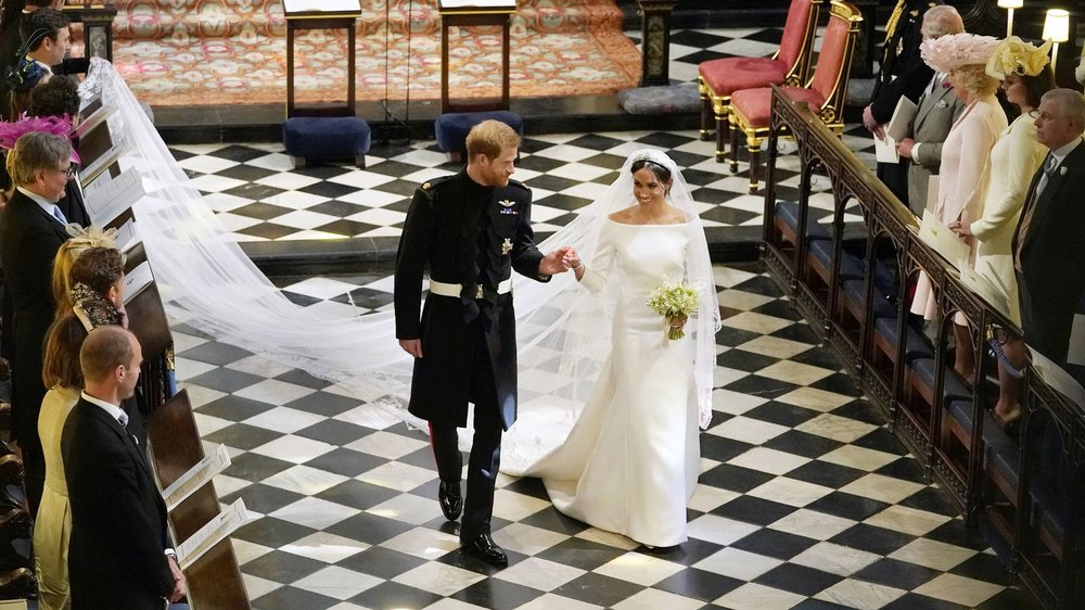 Her most famous design yet: The Duke and Duchess of Sussex (Duchess in Waight Keller's design for Givenchy). Image: Getty.