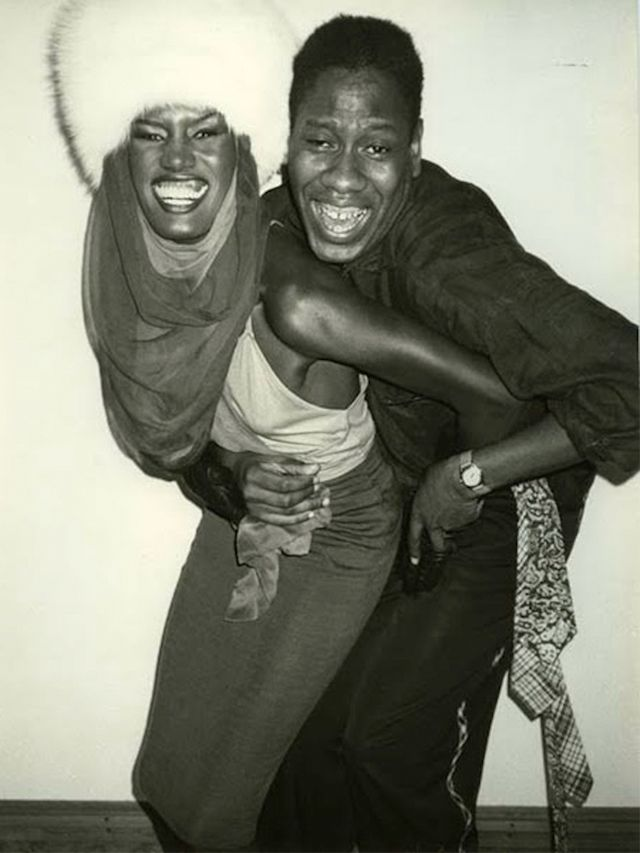 With Grace Jones via Whowhatwear.