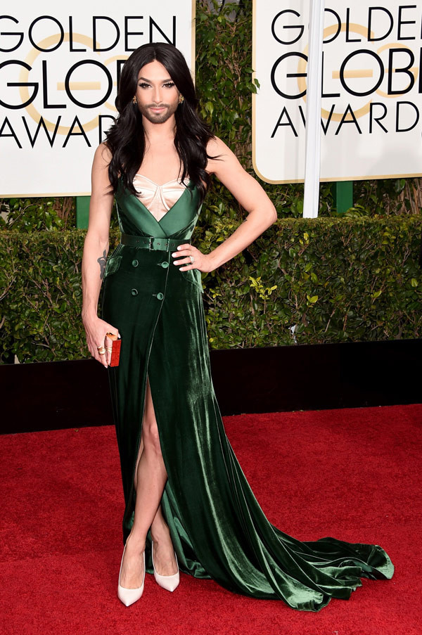Conchita Wurst attends the Golden Globes; image via Hollywood Life.