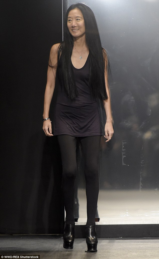 Vera Wang's uniform of black tops (typically sleeveless) and skinny pants. Image: Daily Mail.