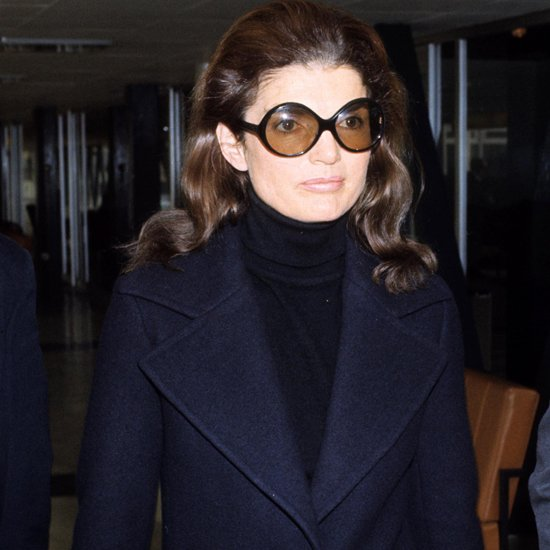 Jackie O in uniform turtleneck sweater and oversized glasses. Image: Pop Sugar