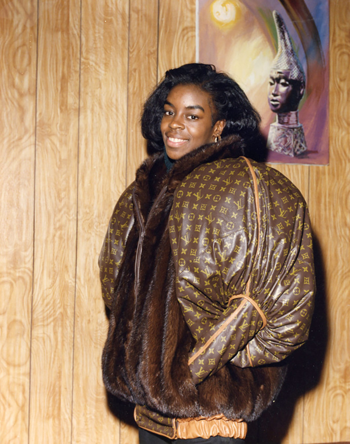 Olympic Gold Medalist Diane Dixon in custom Dapper Dan jacket; image via The Cut.