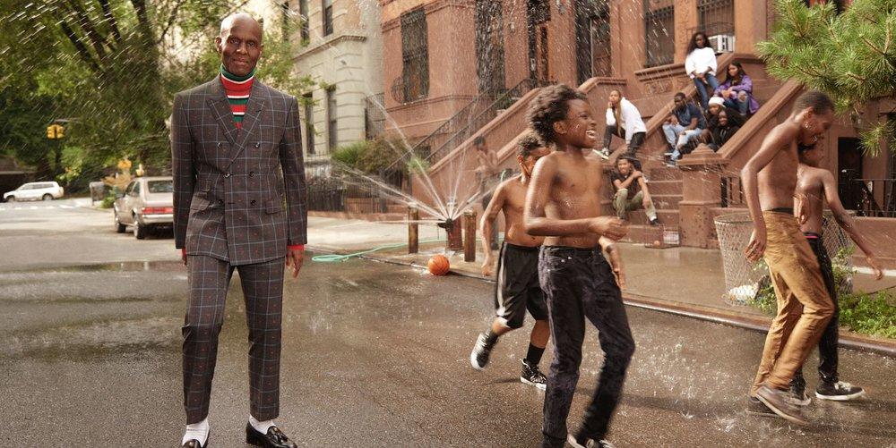 Dapper Dan x Gucci campaign; image via Harper's Bazaar.