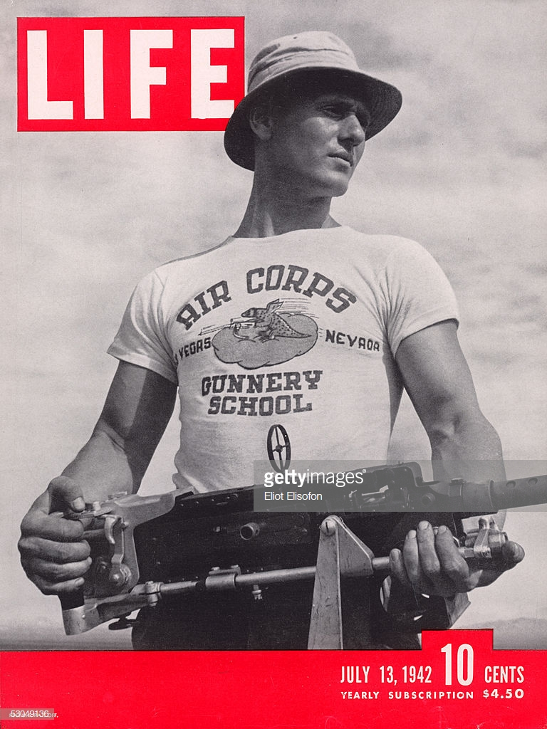 1942 Life Magazine cover featuring a military issued Graphic T-shirt; image via Getty Images.