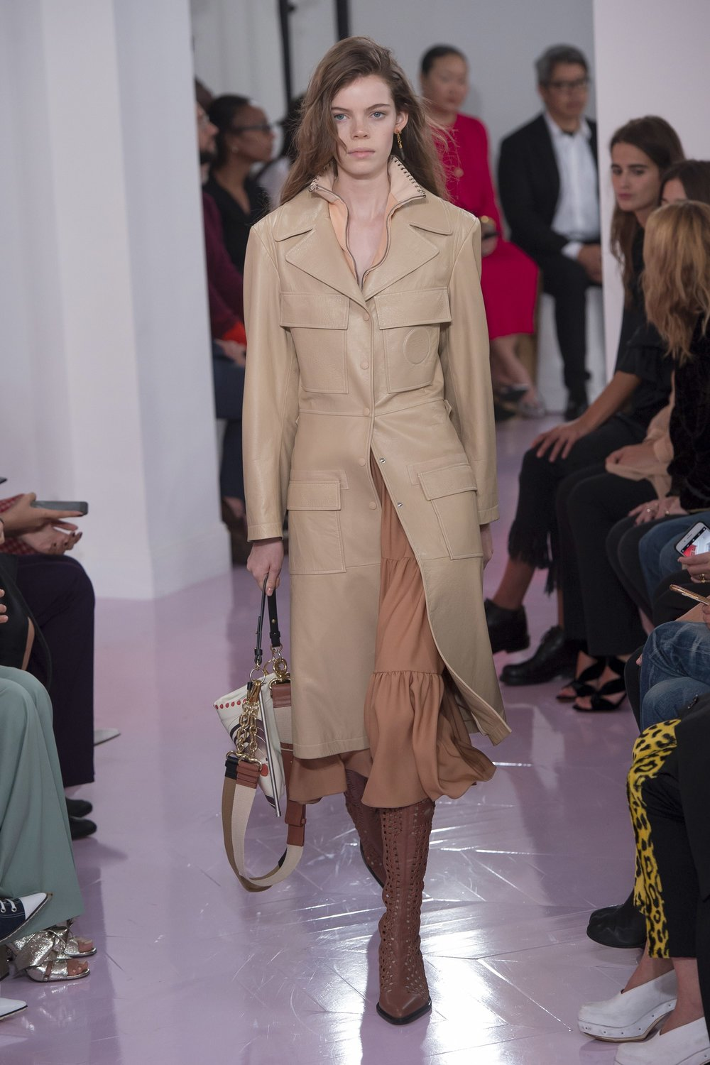 Chloe  leather trench from F/W 2018 RTW Collection; image via Vogue.
