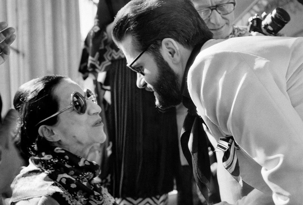 Karl Lagerfeld and Diana Vreeland; image via The New York Times.