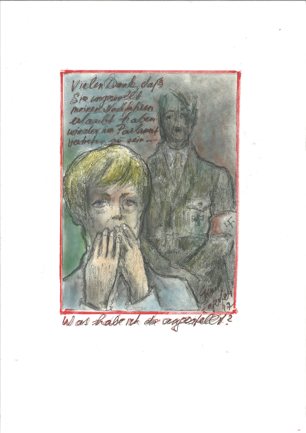 Lagerfeld's sketch shows Adolf Hitler thanking Angela Merkel for inadvertently the far right to re-enter German Parliament; image via WWD.