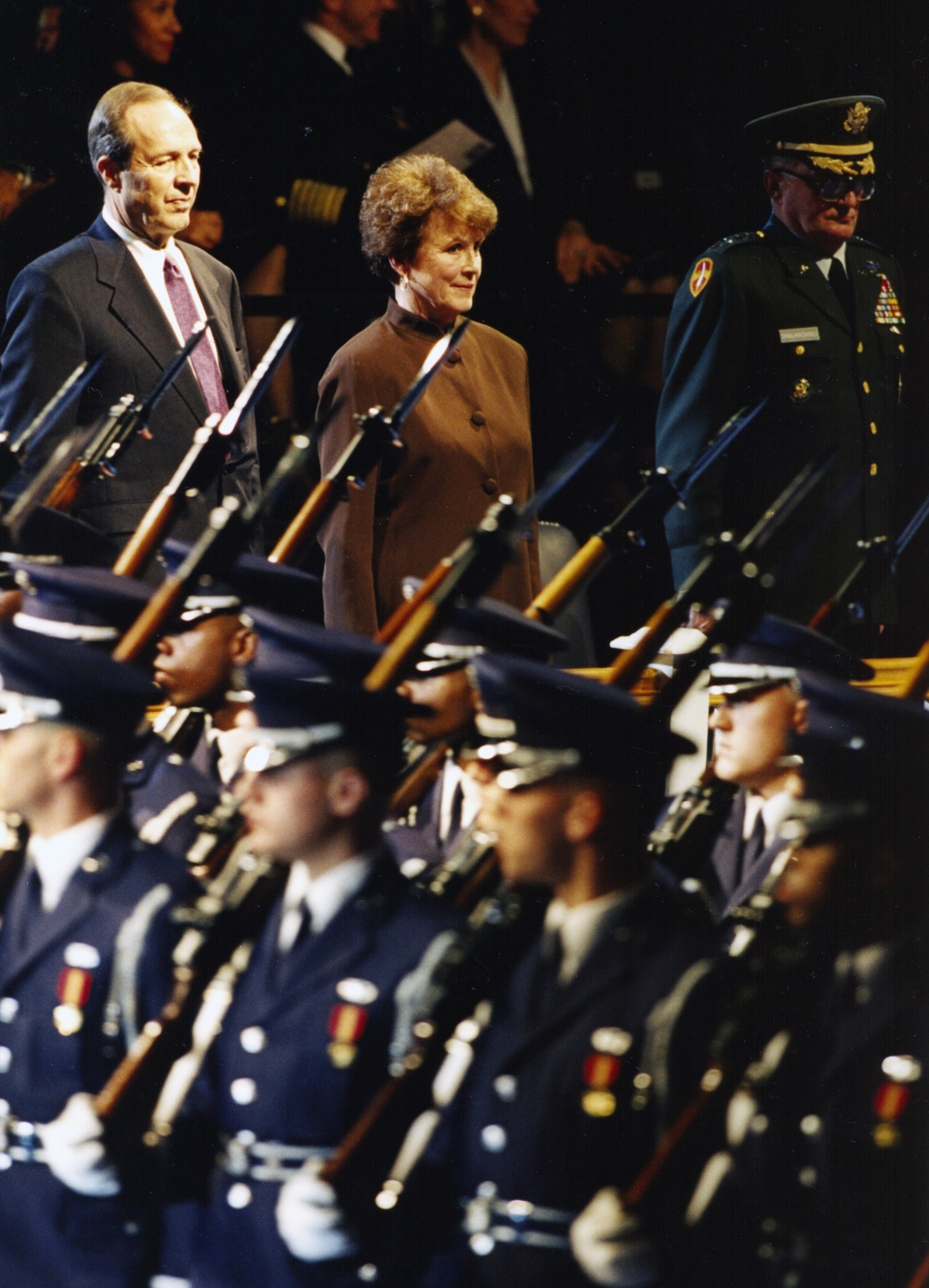 Perry with wife, Lee, and chairman of the Joint Chiefs John Shalikashvili, as honor guards of each service pass in review, February 1994.