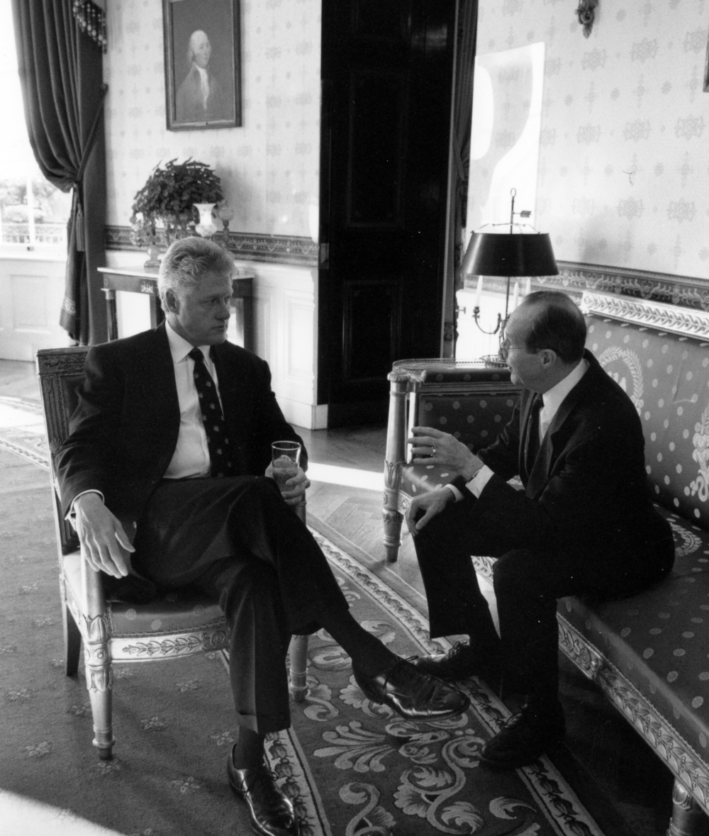 President Clinton and Dr. Perry discuss sending American troops to Bosnia, November 1995. White House photographic office.