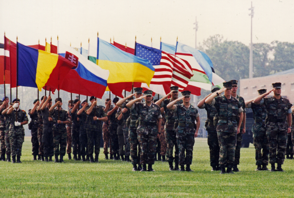 Partnership for Peace joint military exercise at Fort Polk, Louisiana, 1995.