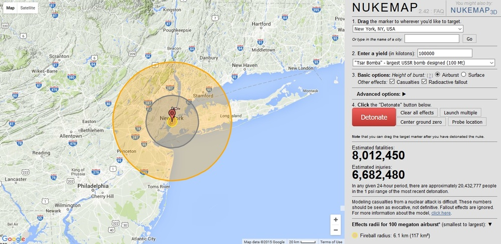See the power of nuclear weapons throughout history on  NukeMap