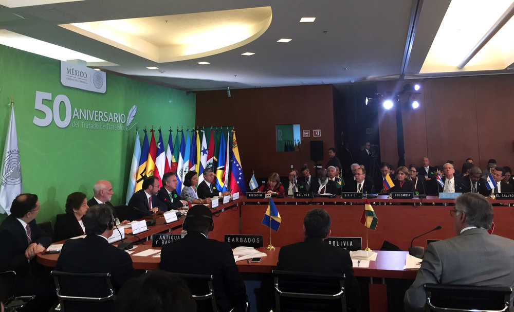 Meeting of the Ministers of Foreign Affairs of Latin America and the Caribbean adopting a declaration on 50th anniversary of the Tlatelolco Treaty.