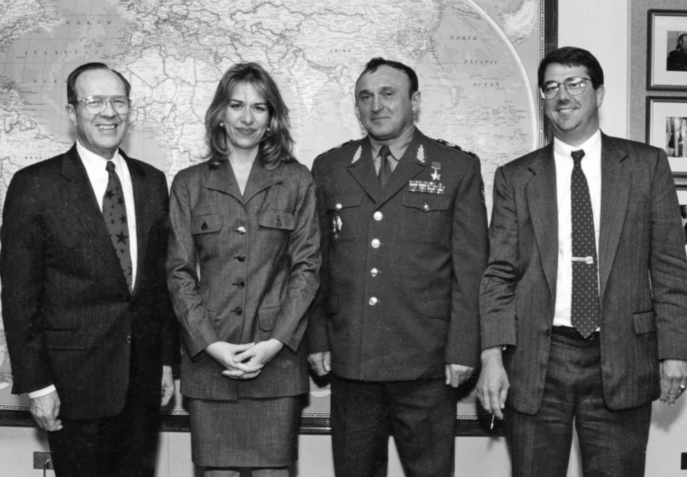 Left to right: U.S. Secretary of Defense William Perry, Elizabeth Sherwood-Randall, Russian Defense Minister Pavel Grachev and Ash Carter