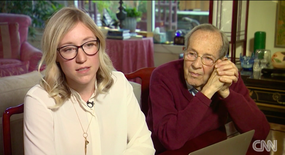 Bill Perry looks on as his granddaughter Lisa Perry speaks to CNN about the challenges of raising awareness about the nuclear threat to a generation that grew up after the Cold War