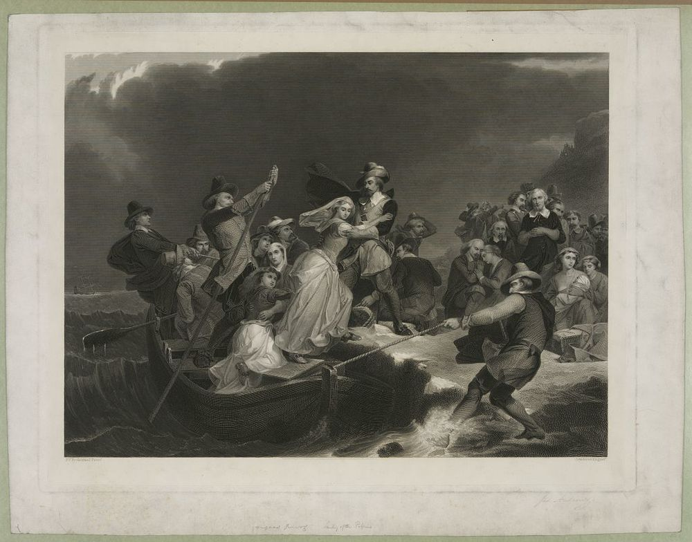 Landing of the Pilgrims on Plymouth Rock , 1620  P.F. Rothermel paintr. ; J. Andrews engravr.   Library of Congress Prints and Photographs Division Washington, D.C. 20540 USA