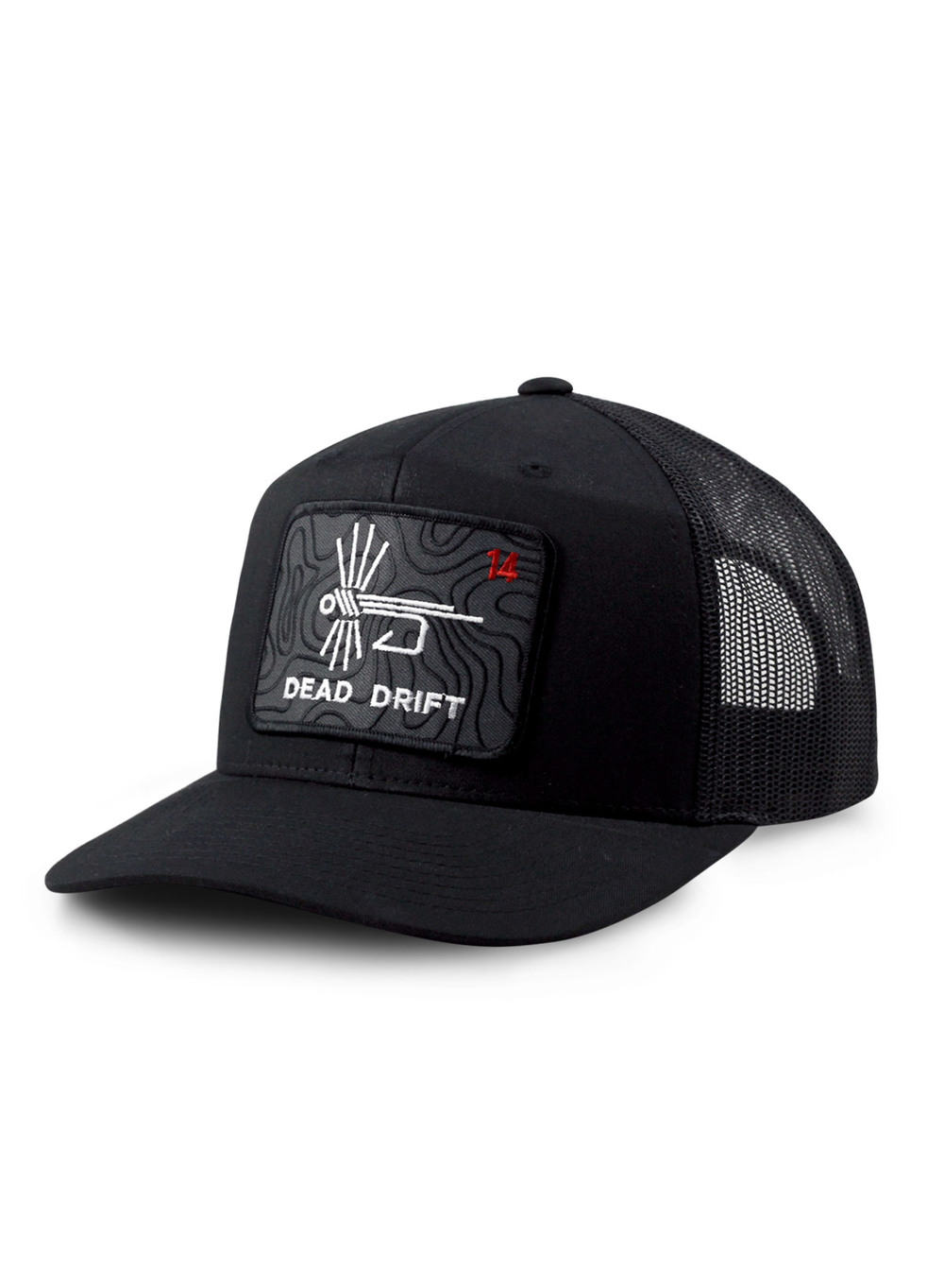 db7b1db03dad0 Dead Drift Fly Topo Logo Trucker Hat — Dead Drift