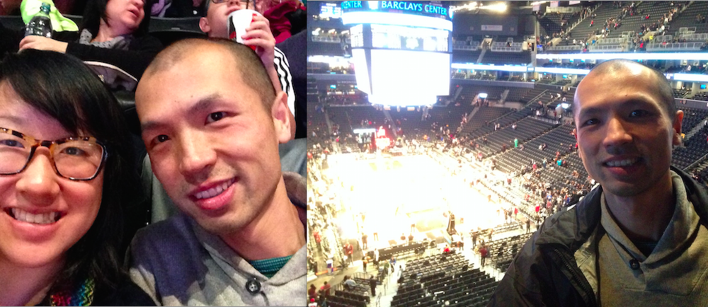This is my husband Tony and I at each of our first NBA Game at the Barclay's Center in Brooklyn. It was fun and it was a good game that was close throughout (it was Brooklyn Nets vs. Denver Nuggets). Tony is in fact the person who gave me the phone case that you see in the shot.