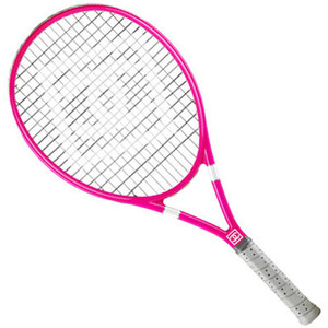 Here is the racquet the advertising art director pitched the concept to the client with.  Had to find something similar but not this.  After devoting some brain power to this, I'm here to tell you if you are looking for a hot pink tennis racquet this is the most hot pink racquet on the market.