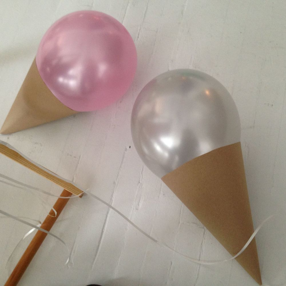 These are some balloons made into ice cream cones that I had to fabricate. It is harder than it seems.