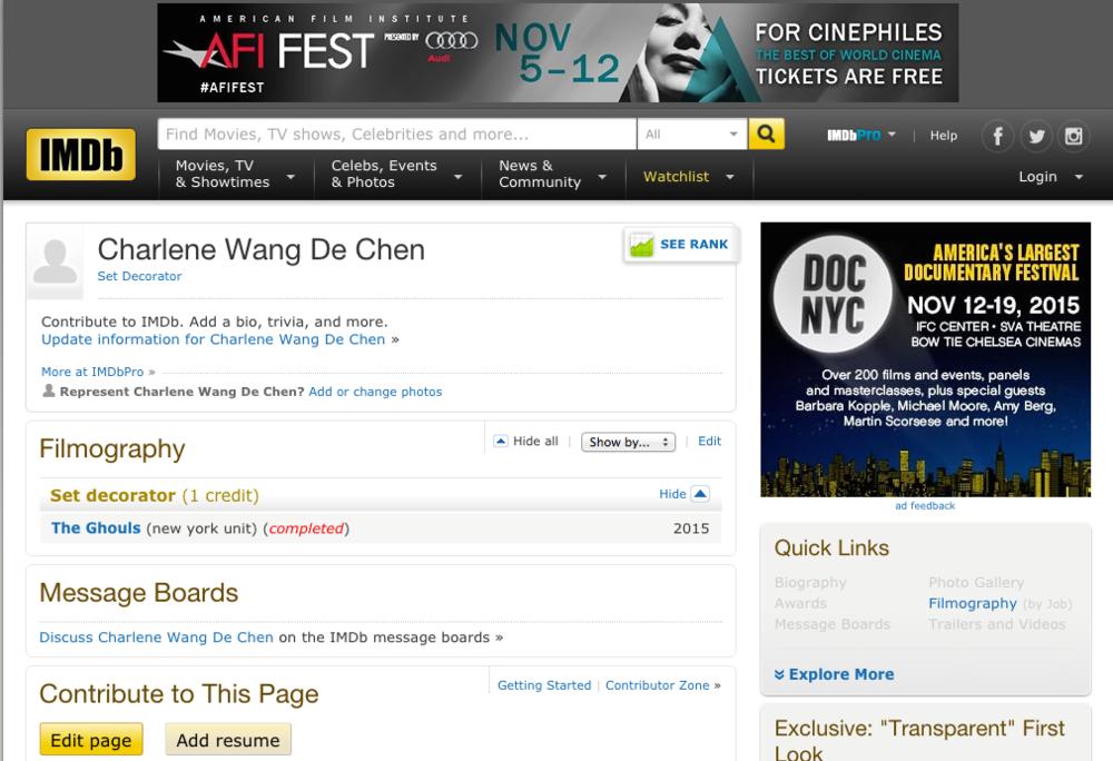 My first IMDB Credit! — Charlene Wang de Chen