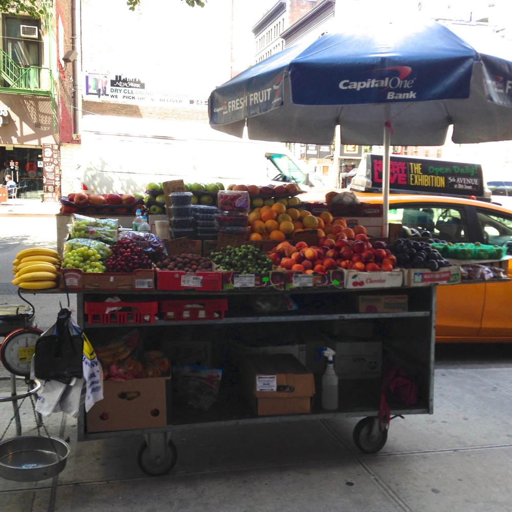 The fruit cart we used in its natural habitat on 6th Ave in Manhattan