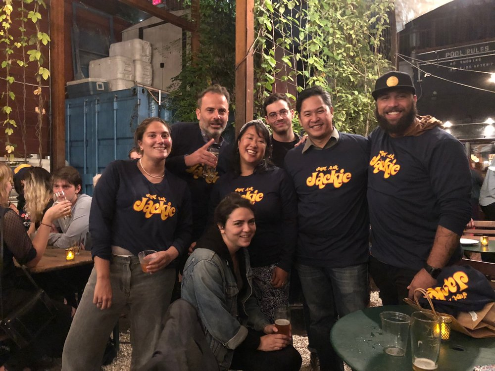 "Season 3 Art Department with our ""Just Ask Jackie"" shirts I made for everyone at the wrap party"