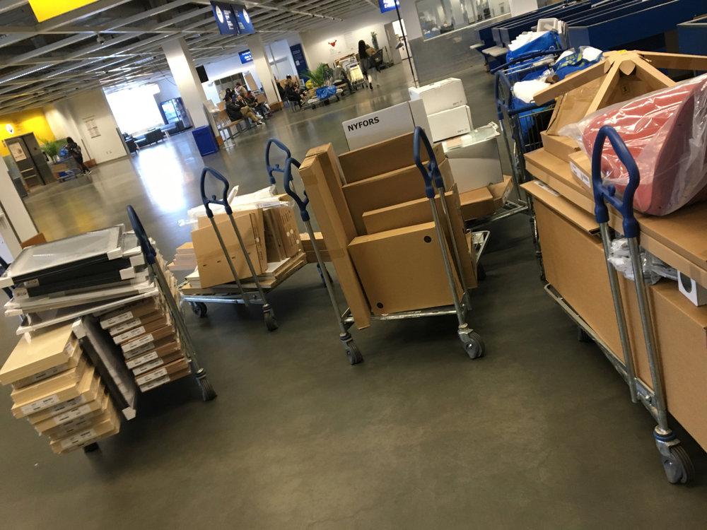 checking out with seven loaded carts at IKEA