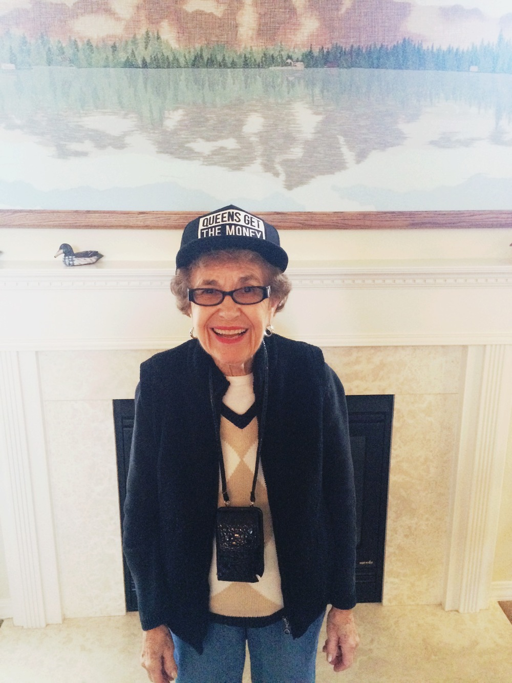 Grandma S. being a great sport and wearing that youthful hat =]