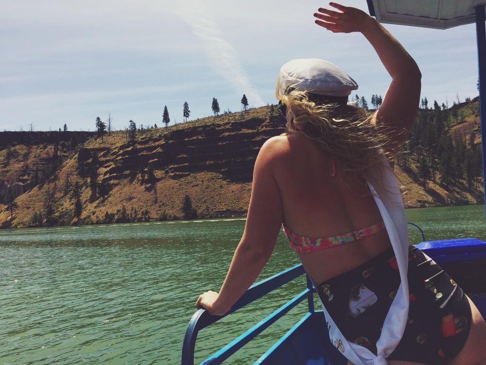 Emily wavin' to those who share the lake with us weirdos