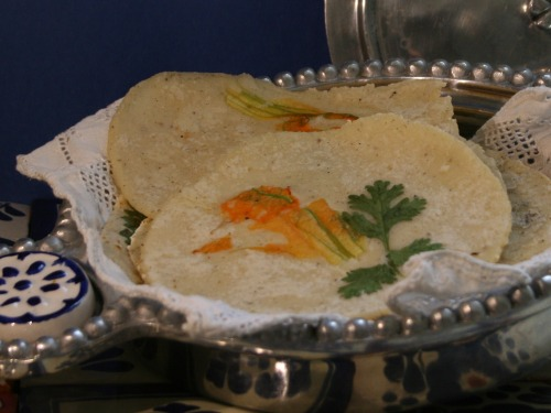Handmade corn tortillas with edible flowers and herbs- photo by Adriana Almazan Lahl
