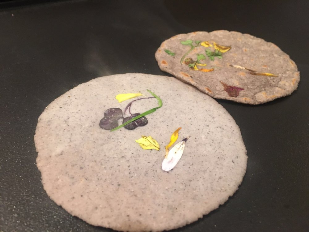 - All dinner served with handmade tortillas made from locally-milled masa:Nopalito: