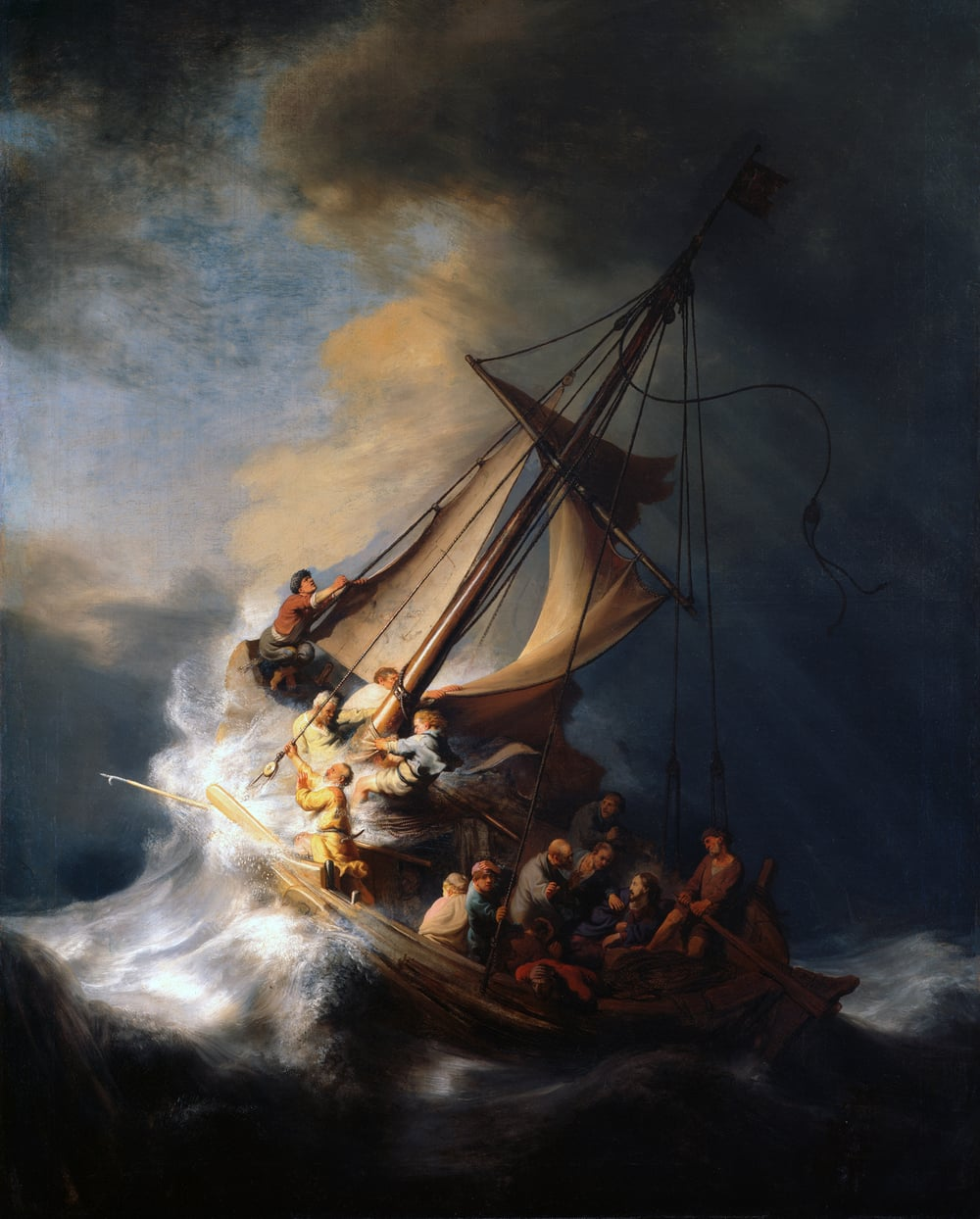 """The Storm on the Sea of Galilee"" (1633) Rembrandt Harmenszoon van Rijn"