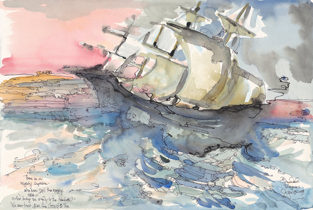 """""""Mighty Captain"""" watercolor & ink by Brenda Trapani, a University Church Member. See more of her artwork at:  brendatrapani.com"""