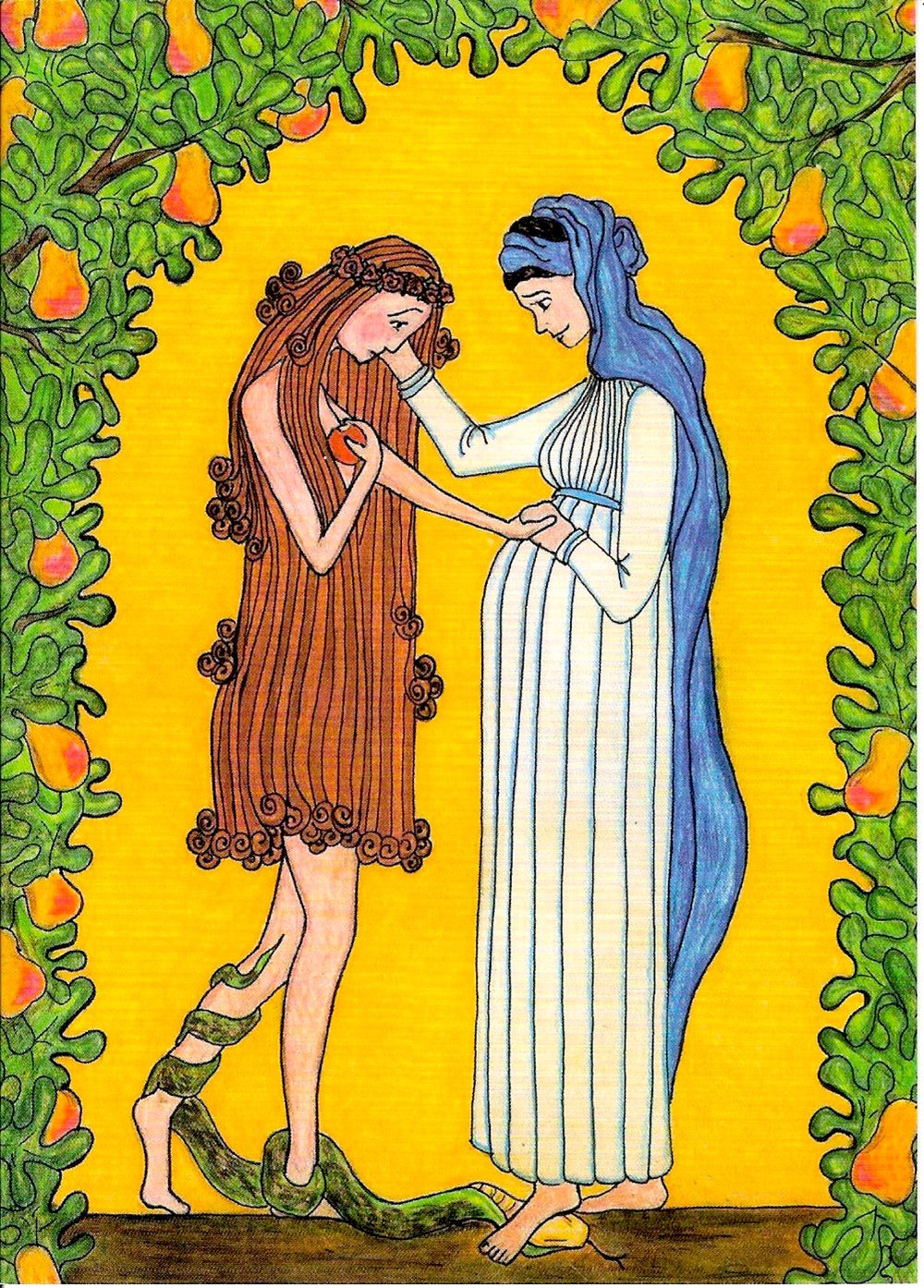 """Mary Consoles Eve"" Crayon and pencil by Sister Grace Remington, OCSO Copyright 2005, Sisters of the Mississippi Abbey. Printed by permission"