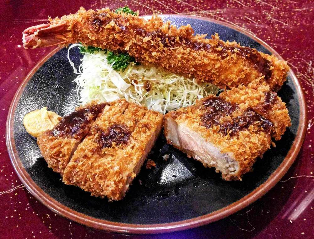 The Fried Shrimp & Pork Tonkatsu Dish at Rikitei.