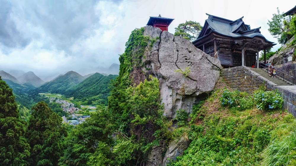 Yamadera Temple overlooking the mountains.