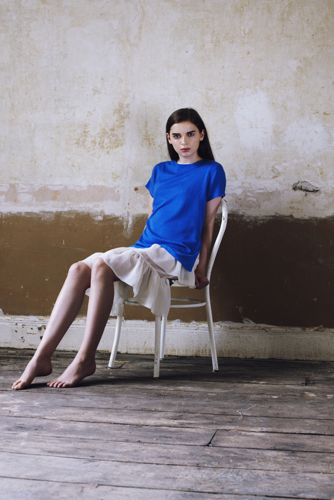 White sheer ruffle dress and top:  Zoë Carol .  Blue woven border top:  Warehouse .