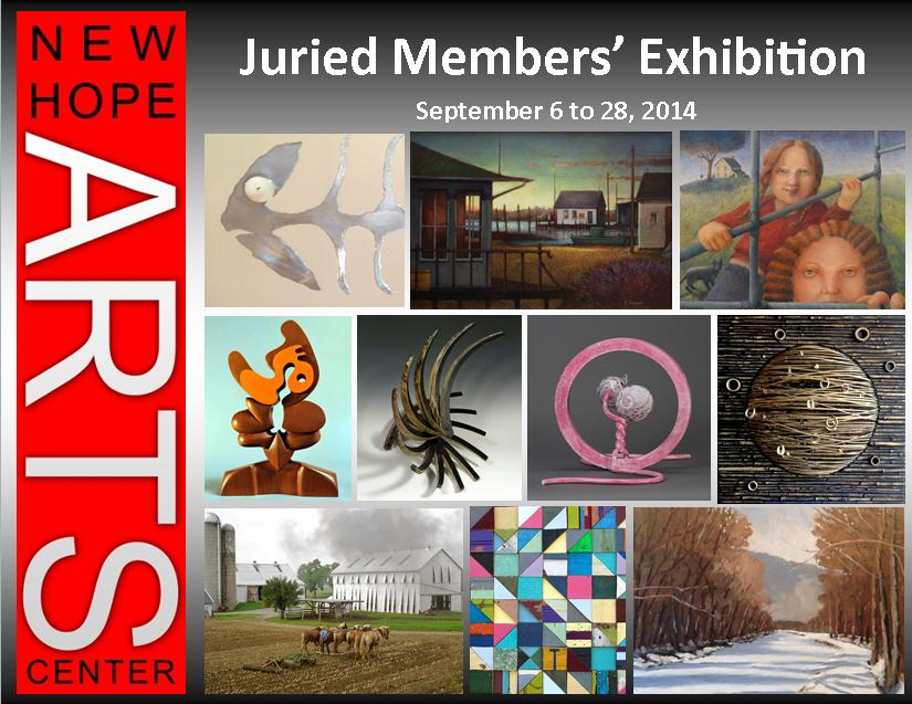 "New Hope Arts member artists were offered a unique opportunity for the 2014 exhibition, themed ""New Hope to New York"", when applicants were curated by a Manhattan gallerist.   More than ninety works were selected for this year's juried show opening at New Hope Arts on Saturday, September 6 and running through the month of September.       The New Hope Members' Juried Exhibition is open to all media and is critically evaluated for the finest selection of members' work. This year's show offers a curatorial point of view which promises to be refreshing and supports the NHArts mission to present the finest contemporary work. The curator of the show is Ellen Bradshaw, president of Pleiades Gallery, a noted SOHO institution with a 40 year history. Her selections reflect a broad range of styles, sensibilities and media, from realism to abstraction, spanning painting, drawing, photography, sculpture, printmaking, mixed media and experimental work.  New incentives for accepted artists was the selection of the top ten art works the curator evaluated for worthiness for presentation to the New York art scene.     Saturday, September 6 is the opening reception from 6-8 pm free to the public, coupled with the Side Tracks Gallery presentation of the 8  th   Annual Naked in New Hope shows in their neighboring Stockton Street gallery    and in ""A-Space"" in the New Hope Arts building at 2 Stockton Avenue. A full evening of gallery viewing opens this Fall season in New Hope. New Hope Arts members are invited to preview from 4-6 pm"