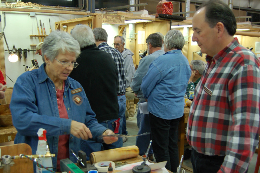 Joyce demonstrates a couple of key techniques with Steve Hillerman.
