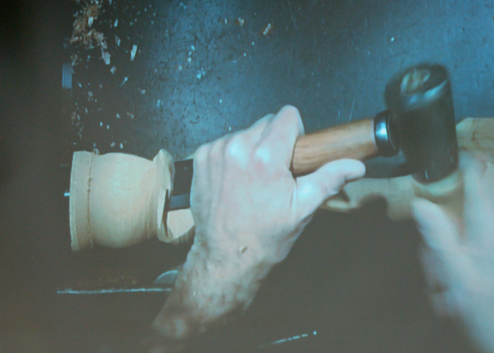 Mark does a little shoulder shaping with a chisel and mallet.