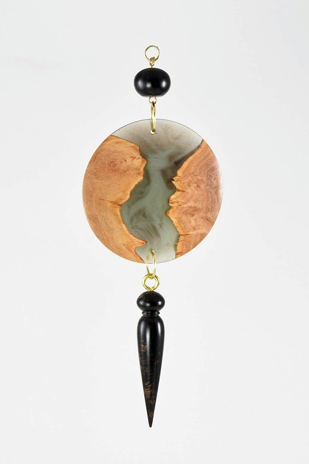 This ornament was made from scraps left over from hollow forms made with burl and cast resin. The medallion has the burl & resin. The bead and pendant are just turned cast resin.   -Bud Hohlfeld