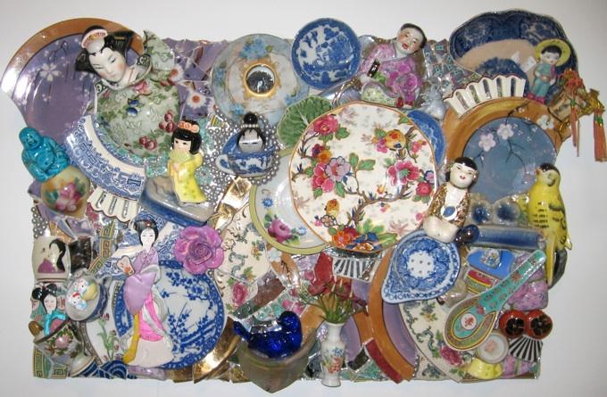 Me Soo Happii w/ Vintage Figurine & Plates Wall Hanging $1800
