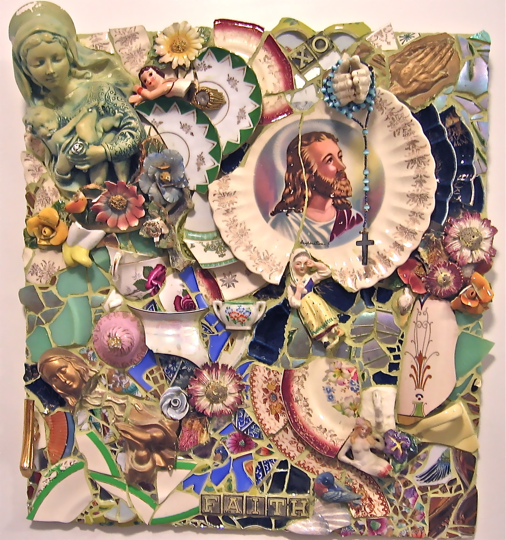 Faith w/ Vintage Figurines & Plates   Wall Hanging  20x22  $2000