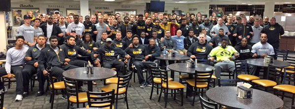 Image from  Coach Gary Pinkel's Twitter Page, posted with the description:  The Mizzou Family stands as one. We are united. We are behind our players.  # ConcernedStudent1950   GP