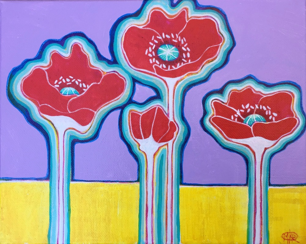 "SOLD ""Morning Poppies"" 8""X10"" $125"