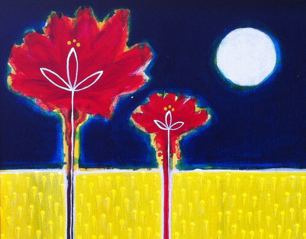 "SOLD ""Moon Flowers"" 8""X10"" $125"