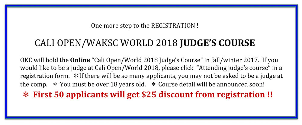 Cali 2018 Judge's Course Announcement