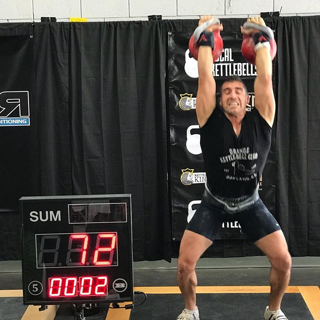 @kettlebelllifestyle finishing off the jerks of his Master of Sport biathlon set today at @mykorstrength Deck The Bells. Now Mike joins the club within the club of MS lifters in both Long Cycle and Biathlon. Congrats brother! #kettlebellsport #kettlebell #okcnorth #caliopen #deckthebells2017 #biathlon @kettlebelllifestyle @adagirl41 @stefanieobregozo @kettleboo @denisvasilevkbsport @dolbystyle @__ver @kbfitbritt @musclehipster