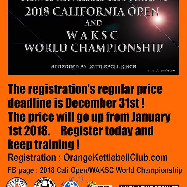 ONLY 4DAYS LEFT to the regular peice deadline for the Cali Open/WORLD CHAMPIONSHIP 2018 !  Register today!!! The price goes up from Jan 1st! Info & Registration : http://orangekettlebellclub.com/2018-cali-open-waksc-world…/ FBook Page & Question : https://www.facebook.com/groups/391666821271601/  #caliopen #kettlebellsport #kettlebell #okcnorth #kettlebellkings #kettlebellsport #kettlebellworkout #orangekettlebellclub #dolbystyle #kettlebellcompetition @denisvasilevkbsport